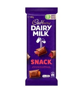 Cadbury Dairy Milk Snack milk chocolate block 180g