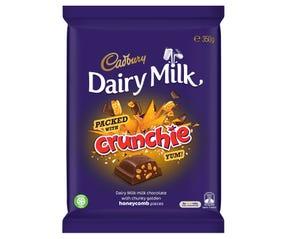 Cadbury Dairy Milk Packed with Crunchie milk chocolate block 350g